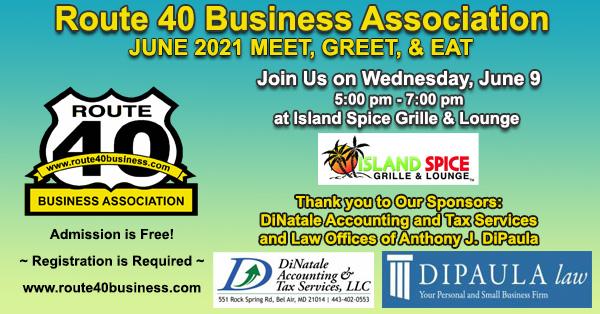 June 2021 Meet Greet and Eat Route 40 Business Association